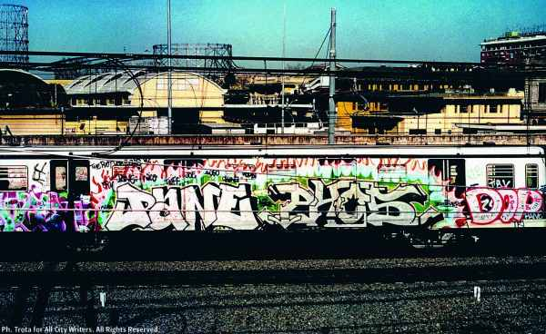 Pane and Phos from Berlin on the Rome subway-mid 90s-ph credit Trota