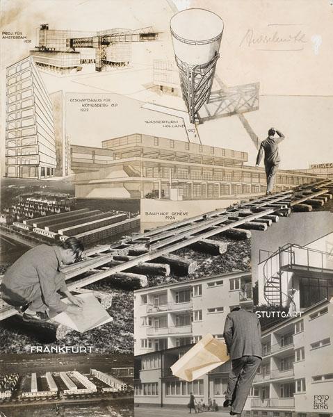 Photomontage de projets conçus par Mart Stam dans les années 1920 1930