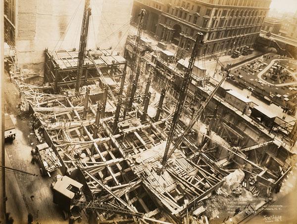 Chantier de l'édifice de la Irving Trust Company, 1 Wall Street, New York, 16 janvier 1930