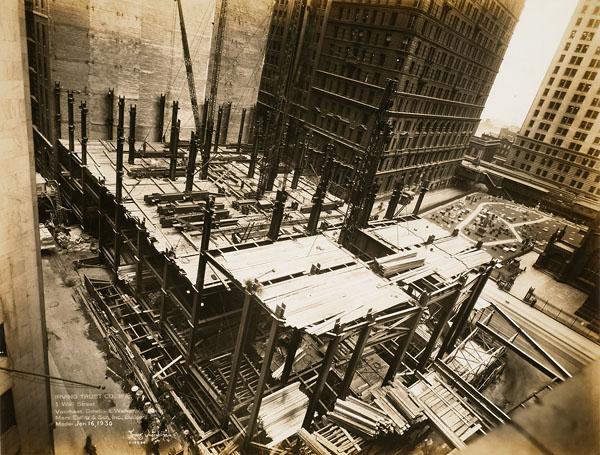 Chantier de l'édifice de la Irving Trust Company, 1 Wall Street, New York, 4 février 1930