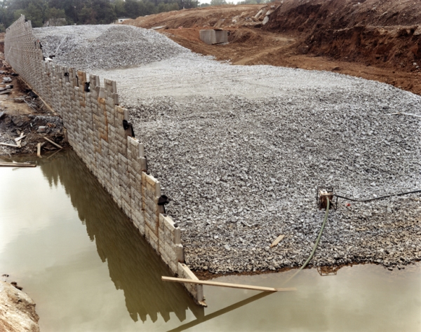 retaining wall with water