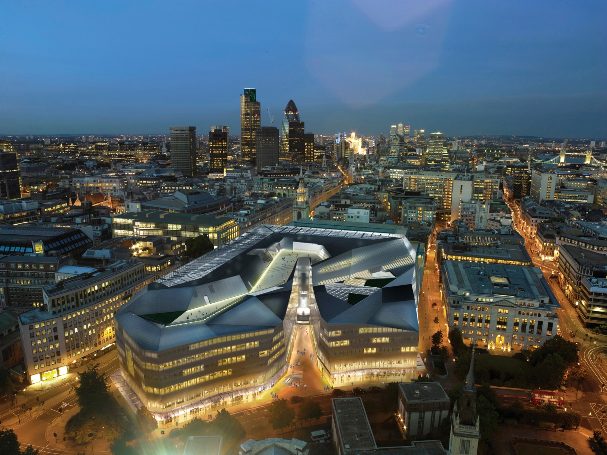 Jean Nouvel arkitektoak Londreseko hirigunean egindako One New Thing proiektuaren infografia.