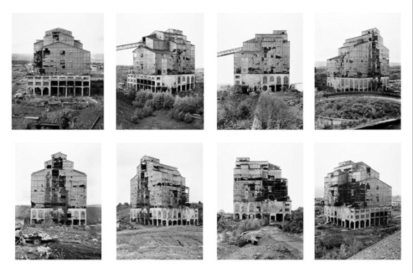 """© Bernd and Hilla Becher - """"Loomis Coal Breaker/Wilkes Barre, Pennsylvania,"""" 1974.   Gelatin silver prints, 8 prints; each 16 x 12 in. Lent by Hilla Becher in association with Die Photographische Sammlung/SK Stiftung Kultur, Cologne"""